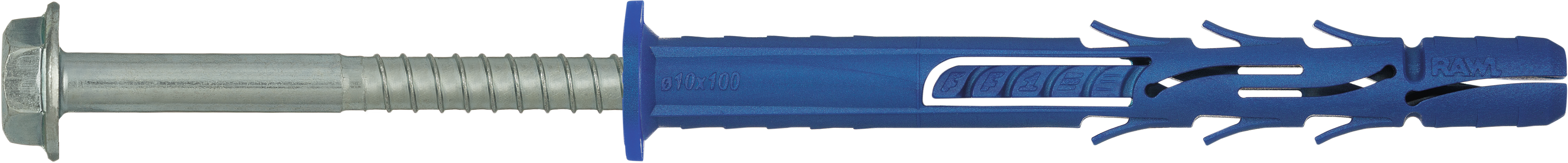 R-FF1-K Fasadplugg Nylon med krage sexkantsskruv - elförzinkad