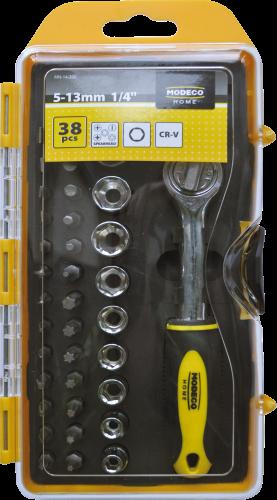 MN-14-200 Комплект ключ з храповиком, насадки, головки, 38 шт.