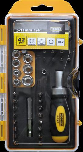 MN-14-518 Atsuktuvas, imbus raktai, lizdai ir antgaliai 42 vnt